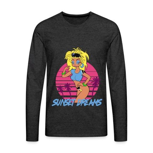 Sunset Dreams Pinup Yellow - Miesten premium pitkähihainen t-paita