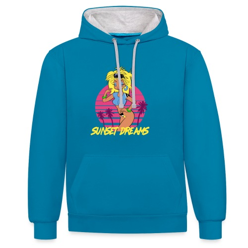 Sunset Dreams Pinup Blue - Contrast Colour Hoodie