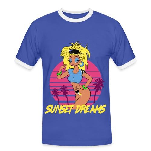 Sunset Dreams Pinup Blue - Men's Ringer Shirt