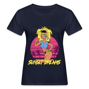 Sunset Dreams Pinup Blue - Naisten luonnonmukainen t-paita