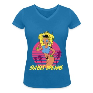Sunset Dreams Pinup Blue - Stanley & Stellan naisten v-aukkoinen luomu-T-paita