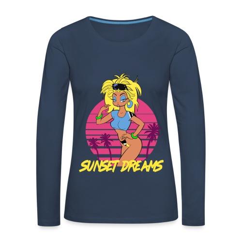 Sunset Dreams Pinup Blue - Naisten premium pitkähihainen t-paita
