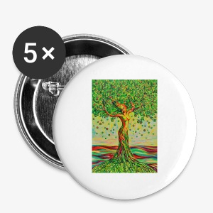 Tree of Life Lebensbaum GREEN APPLE Stoffbeutel - Buttons groß 56 mm