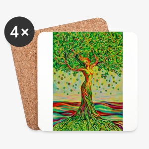 Tree of Life Lebensbaum GREEN APPLE Stoffbeutel - Untersetzer (4er-Set)