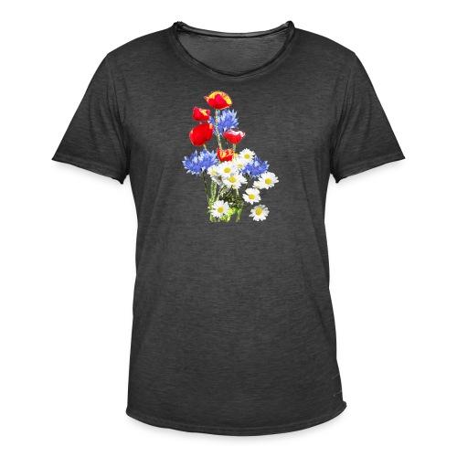 Mohn-Kornblumen,Margerite - Männer Vintage T-Shirt