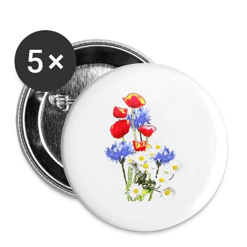 Mohn-Kornblumen,Margerite - Buttons groß 56 mm