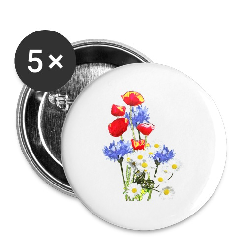 Mohn-Kornblumen,Margerite - Buttons klein 25 mm