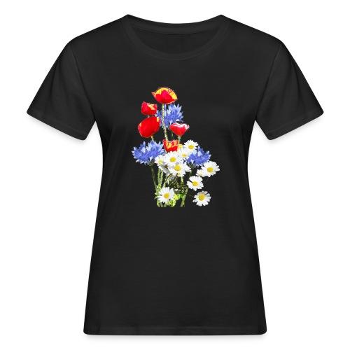 Mohn-Kornblumen,Margerite - Frauen Bio-T-Shirt