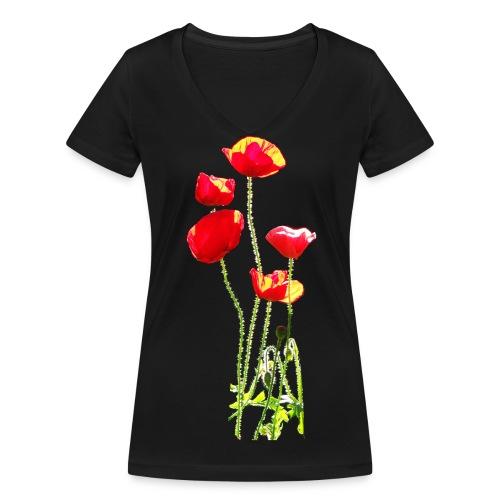Mohn - Frauen Bio-T-Shirt mit V-Ausschnitt von Stanley & Stella
