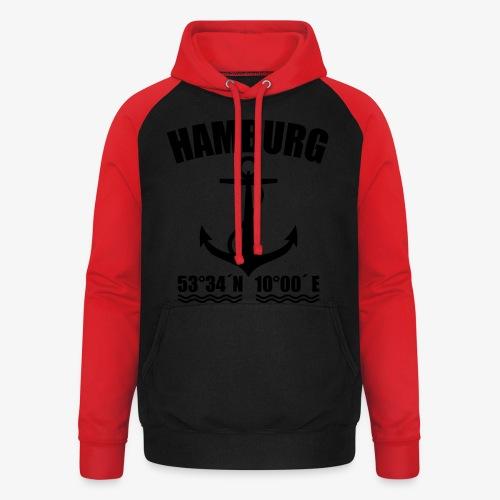 Hamburg Koordinaten Anker maritim Ahoi T-Shirt - Unisex Baseball Hoodie