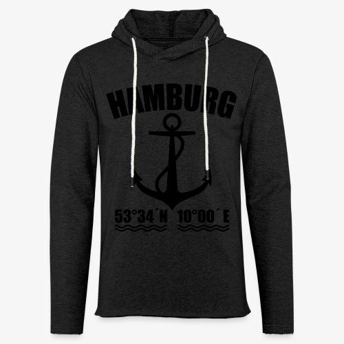 Hamburg Koordinaten Anker maritim Ahoi T-Shirt - Leichtes Kapuzensweatshirt Unisex