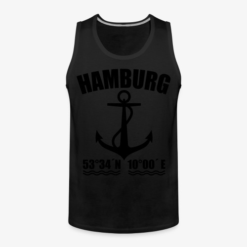 Hamburg Koordinaten Anker maritim Ahoi T-Shirt - Männer Premium Tank Top