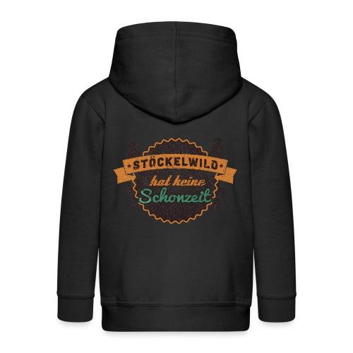 Hoodie - Stöckelwild Rücken braun - Kinder Premium Kapuzenjacke