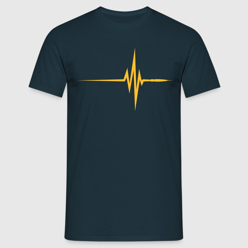 Marineblå Pulse Beat EKG (1c, NEU) T-shirts - Herre-T-shirt