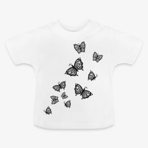 Schwarze Schmetterlinge Baby Body weiss - Baby T-Shirt