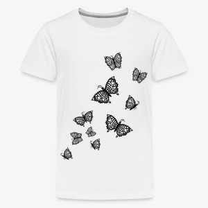Schwarze Schmetterlinge Baby Body weiss - Teenager Premium T-Shirt