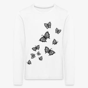 Schwarze Schmetterlinge Baby Body weiss - Kinder Premium Langarmshirt
