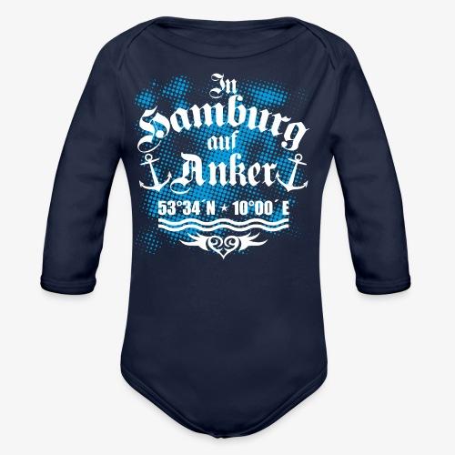In HAMBURG auf Anker Koordinaten Männer T-Shirt - Baby Bio-Langarm-Body