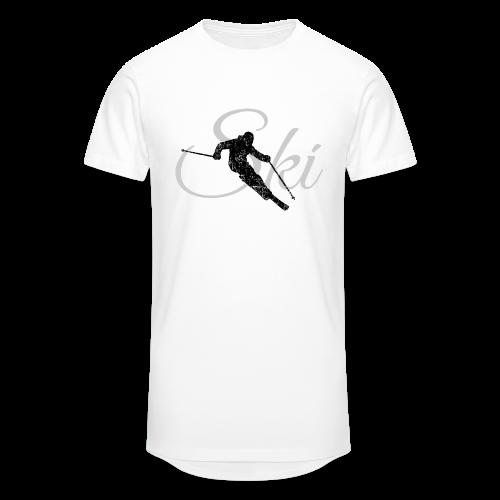 Ski Skifahrer Skifahren T-Shirt (Schwarz/Grau) - Männer Urban Longshirt