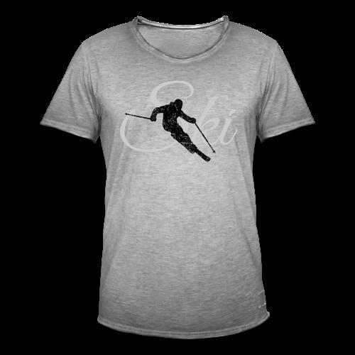 Ski Skifahrer Skifahren T-Shirt (Schwarz/Grau) - Männer Vintage T-Shirt