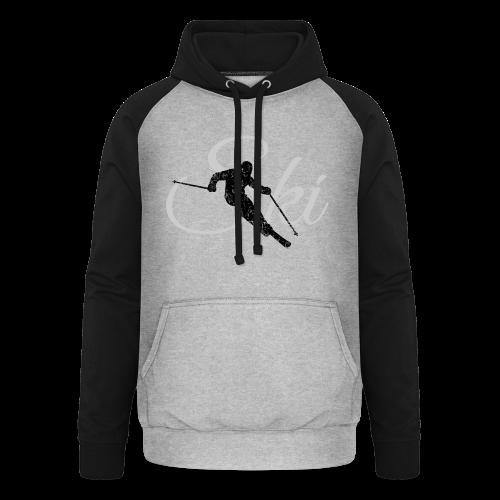 Ski Skifahrer Skifahren T-Shirt (Schwarz/Grau) - Unisex Baseball Hoodie