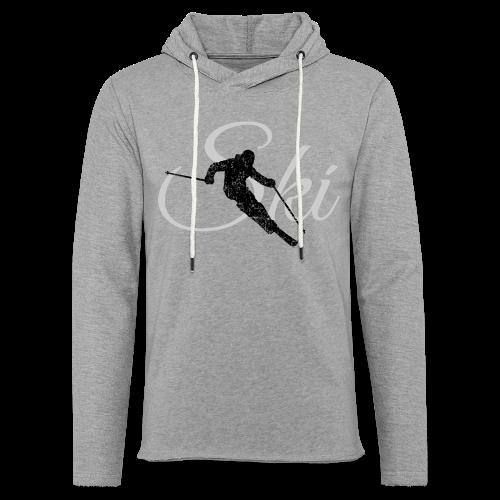 Ski Skifahrer Skifahren T-Shirt (Schwarz/Grau) - Leichtes Kapuzensweatshirt Unisex