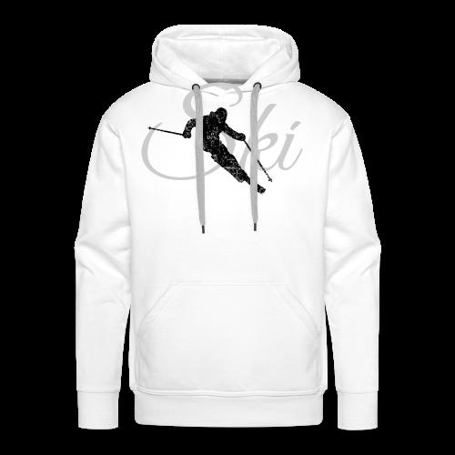 Ski Skifahrer Skifahren T-Shirt (Schwarz/Grau) - Männer Premium Hoodie