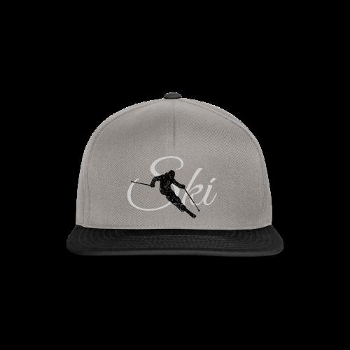 Ski Skifahrer Skifahren T-Shirt (Schwarz/Grau) - Snapback Cap
