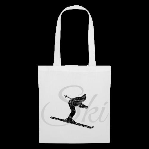 Ski Skifahrer Skifahren (Distressed Schwarz&Grau)