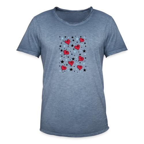 Sterne und Herzen - Männer Vintage T-Shirt