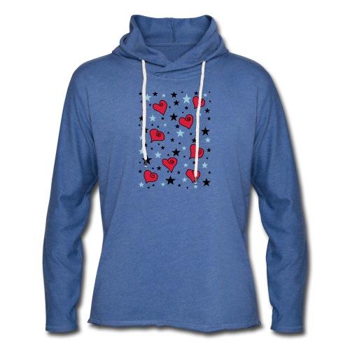 Sterne und Herzen - Leichtes Kapuzensweatshirt Unisex