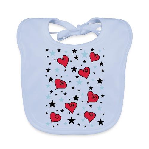 Sterne und Herzen - Baby Bio-Lätzchen