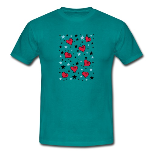 Sterne und Herzen - Männer T-Shirt