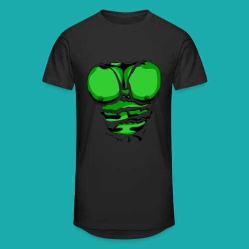 Ripped Muscles Green, six pack, chest T-shirt - Men's Long Body Urban Tee