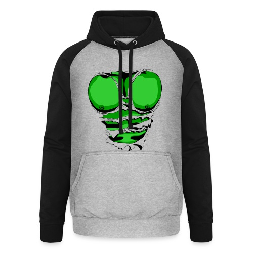 Ripped Muscles Green, six pack, chest T-shirt - Unisex Baseball Hoodie