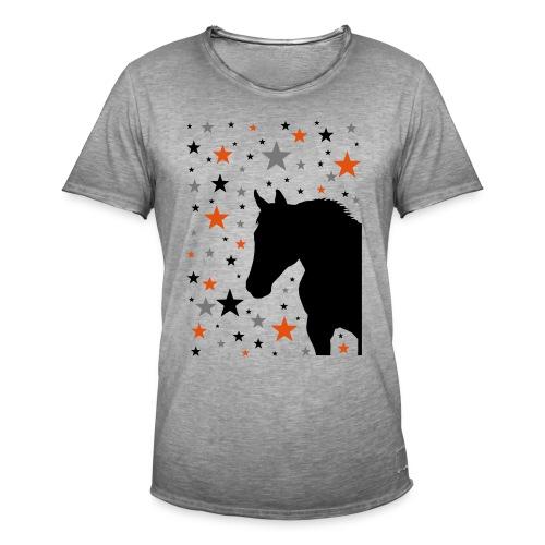 Pferd und Sterne-1 - Männer Vintage T-Shirt