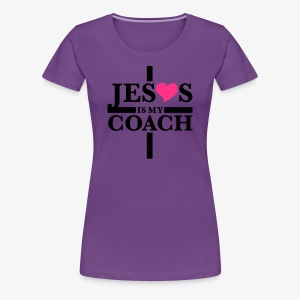 Jesus is my Coach Cross Heart Frauen T-Shirt - Frauen Premium T-Shirt