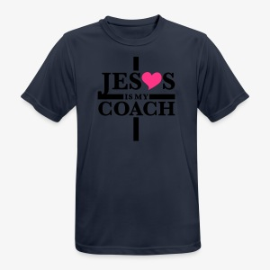 Jesus is my Coach Cross Heart Frauen T-Shirt - Männer T-Shirt atmungsaktiv