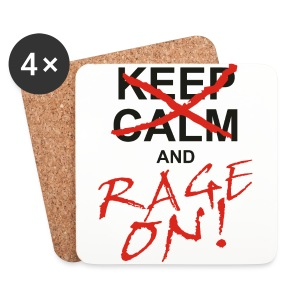 KEEP CALM and RAGE ON - black - Untersetzer (4er-Set)