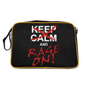 KEEP CALM and RAGE ON - white - Retro Tasche