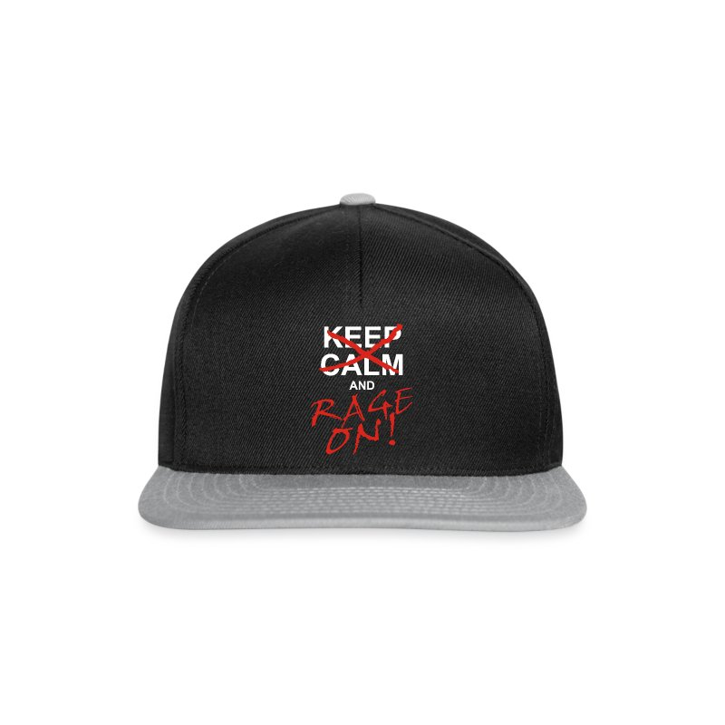 KEEP CALM and RAGE ON - white - Snapback Cap