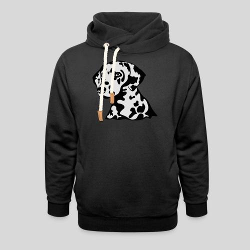 Dalmatiner *schwarz(braun)/weiss* gefüllt - Schalkragen Hoodie