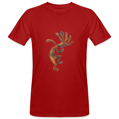 Cocopelli + ZW Schriftzug auf Rücken - Männer Bio-T-Shirt