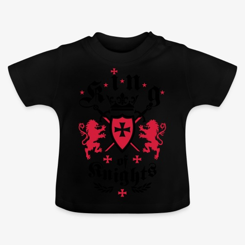 King of Knights Crown Lions Swords Shield Cross T-Shirt - Baby T-Shirt
