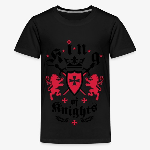 King of Knights Crown Lions Swords Shield Cross T-Shirt - Teenager Premium T-Shirt