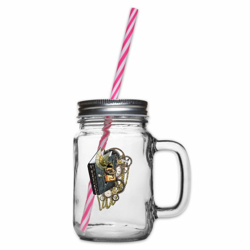 Glass jar with handle and screw cap