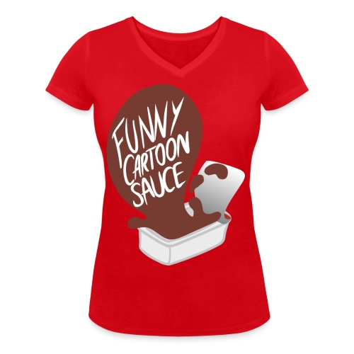 FUNNY CARTOON SAUCE - Mens - Women's Organic V-Neck T-Shirt by Stanley & Stella