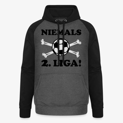 NIEMALS 2. LIGA mit dem Fußball Männer T-Shirt - Unisex Baseball Hoodie