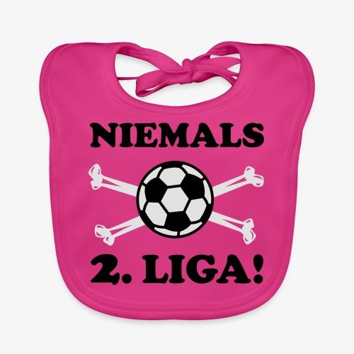 NIEMALS 2. LIGA mit dem Fußball Männer T-Shirt - Baby Bio-Lätzchen