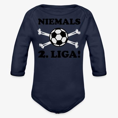 NIEMALS 2. LIGA mit dem Fußball Männer T-Shirt - Baby Bio-Langarm-Body